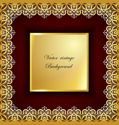 Abstract golden square lace frame with paper vector