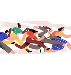 active cartoon woman running together flat vector image