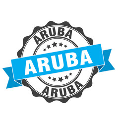 Aruba round ribbon seal vector