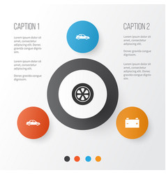 auto icons set collection of automobile vector image