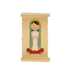 Background with canvas of virgin of guadalupe with vector