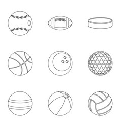 ball icons set outline style vector image