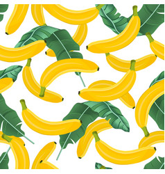 banana seamless pattern with banana leaves on vector image