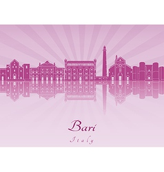 Bari skyline in purple radiant orchid vector