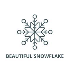 beautiful snowflake line icon beautiful vector image