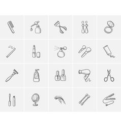 Beauty sketch icon set vector image