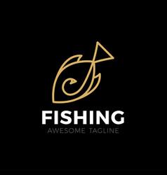 Big fish catch logo template fishing club vector