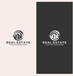 Black and white real estate c vector