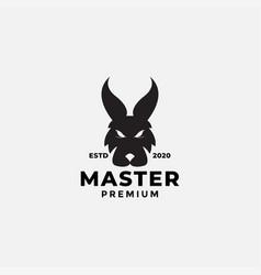 Black fox or wolf or dog head silhouette logo vector