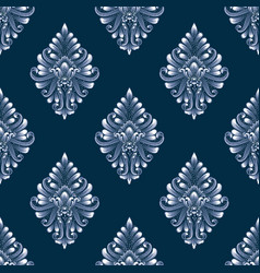 blue damask seamless pattern background vector image