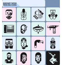 bodyart tattoo piercing icons vector image