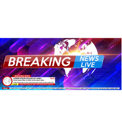 Breaking news live banner on glowing wavy lines vector