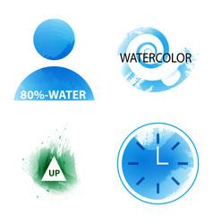Bright rainbow colors watercolor painted logo vector