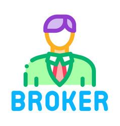 Broker man icon outline vector