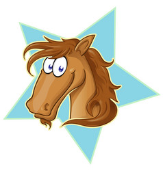 brown horse face cartoon on star vector image