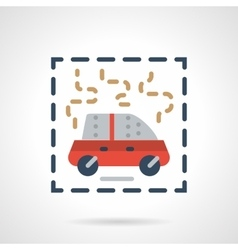 Burning car abstract flat icon vector