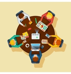 Business Meeting Top View Flat Poster vector