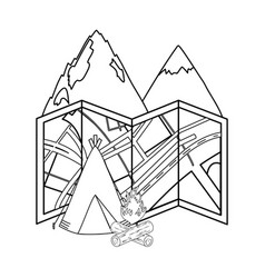 camping tent with mountains and campfire vector image