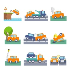 Car crash icons vector image