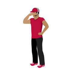 cartoon icon referee in red and black uniform vector image