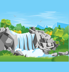 Cartoon waterfall landscape background vector