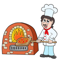 chef baking pizza vector image