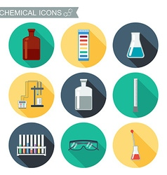 Chemical icons Flat design with shadows Chemical vector image