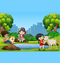 children and pet in the park vector image