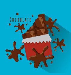 chocolate bar bitten in package and splashes vector image