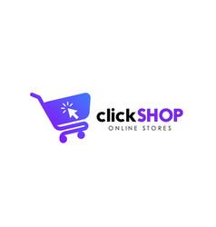 click shop logo icon design online shop logo vector image