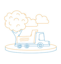 color line dump truck in the city with clouds and vector image