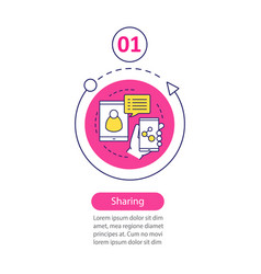 content sharing infographic step template vector image