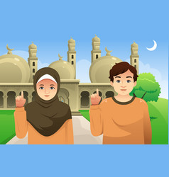 Couple in front of a mosque vector