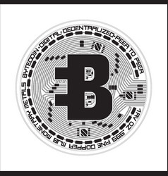 Crypto currency bytecoin black and white symbol vector