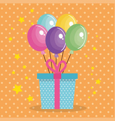 cute giftbox with balloons air birthday card vector image