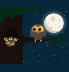 cute owl sit at hollow under the moon vector image