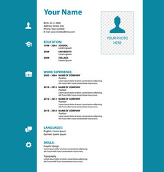 Cv resume template in blue color vector