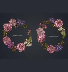 dark floral wreath peony carnation ranunculus vector image