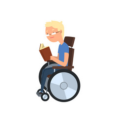 Disabled man in wheelchair reading a book vector