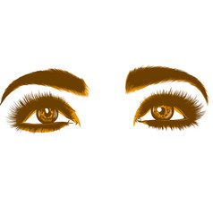 Drawing of colorful yellow woman s eyes vector