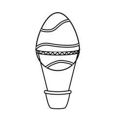 easter egg shaped air balloon basket vector image
