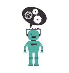 electronic robot with speech bubble card icon vector image