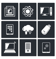 Exchange of information technology icons set vector image