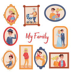 family portraits set photo of family members in vector image