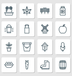 Farm icons set with peony peach honey and other vector