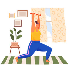 Fat woman training with dumbbells at home obese vector