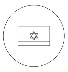 flag of israel icon black color in circle vector image