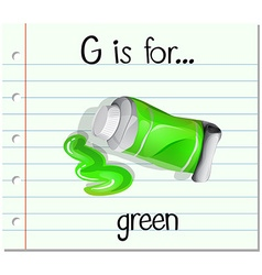 Flashcard letter G is for green vector