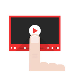 forefinger push on video player button vector image