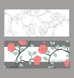 gift card with delicate flowers vector image